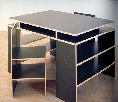Donald Judd, Desk with two chairs #97