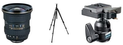 Tokina Lens, Manfrotto tri-pod & head
